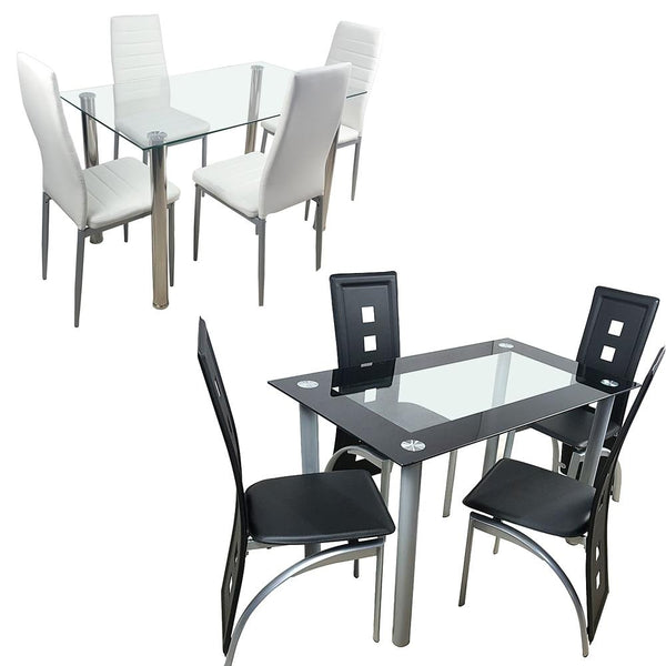 Dining table set glass steel w/4 chairs kitchen room breakfast furniture