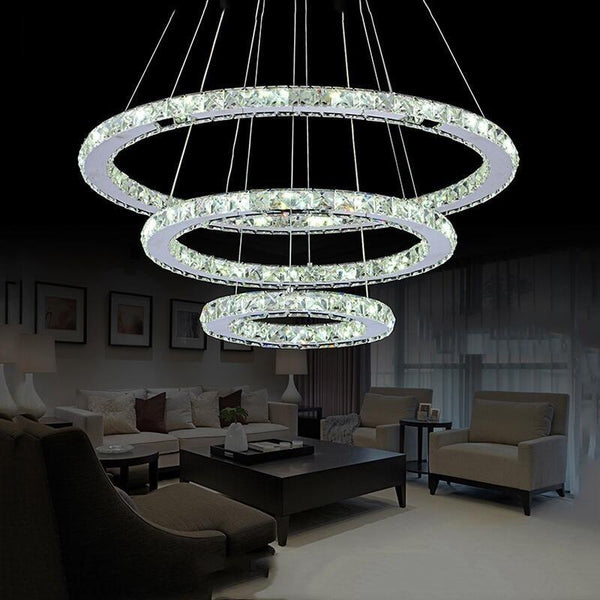LED chandelier modern diamond ring chrome mirror finish stainless steel room hanging lamp