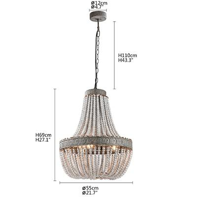 Pendant lamp antique retro loft vintage rustic round wooden beads with LED for hotel living room bar cafe shop e27 lights