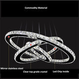 Modern chandelier crystal 3 rings LED luster ceiling for living room chrome exposed lamp pendant
