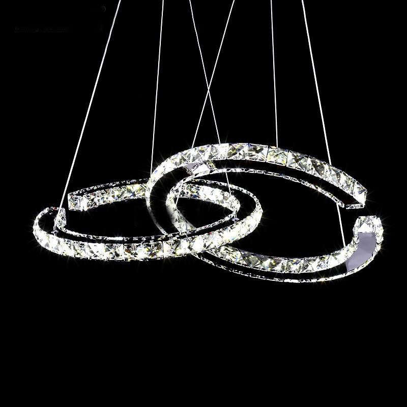 LED chandelier crystal lighting modern clear suspension lamp for living room dining