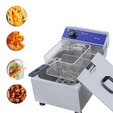 Deep fryer home use electric multifunctional household commercial stainless steel grill frying pan french fries machine