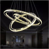 Pendant light modern 3 rings LED stainless steel circle crystal hanging lamp for living room bedroom interior decor