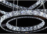LED chandelier modern stainless steel crystal kroonluchter hanging lamp 4 rings diy design diamond