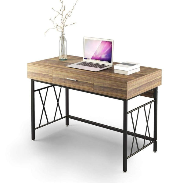 Writing desk 120cm office workstation table for home study room computer with drawer 47
