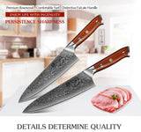 Chef knife 8.5'' inch vg10 damascus steel kitchen stainless gyutou slicing cultery rosewood handle