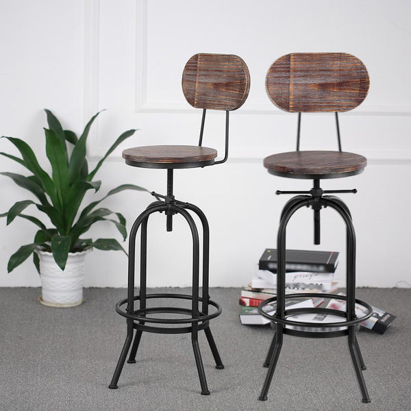 Bar stool industrial style morden height adjustable swivel kitchen dining chair pinewood top metal with backrest