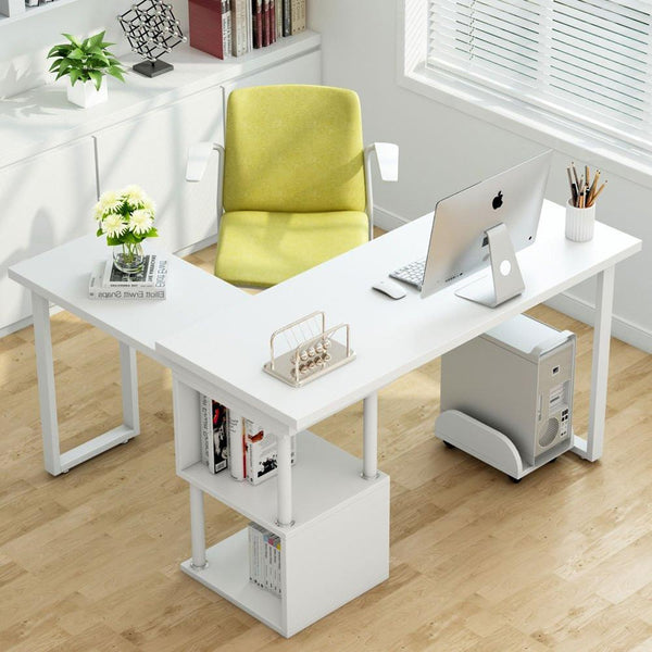 Computer desk rotating l-shaped corner laptop table & 2tier bookshelves