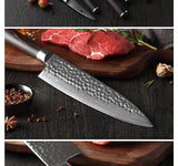 Kitchen knife set 5pcs damascus steel chef set stainless utility pakkawood handle cutlery slice