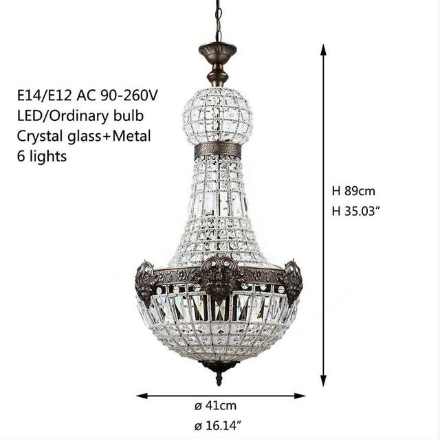 Modern chandelier europe retro vintage charming royal empire style big LED crystal lights e14 for hotel living room