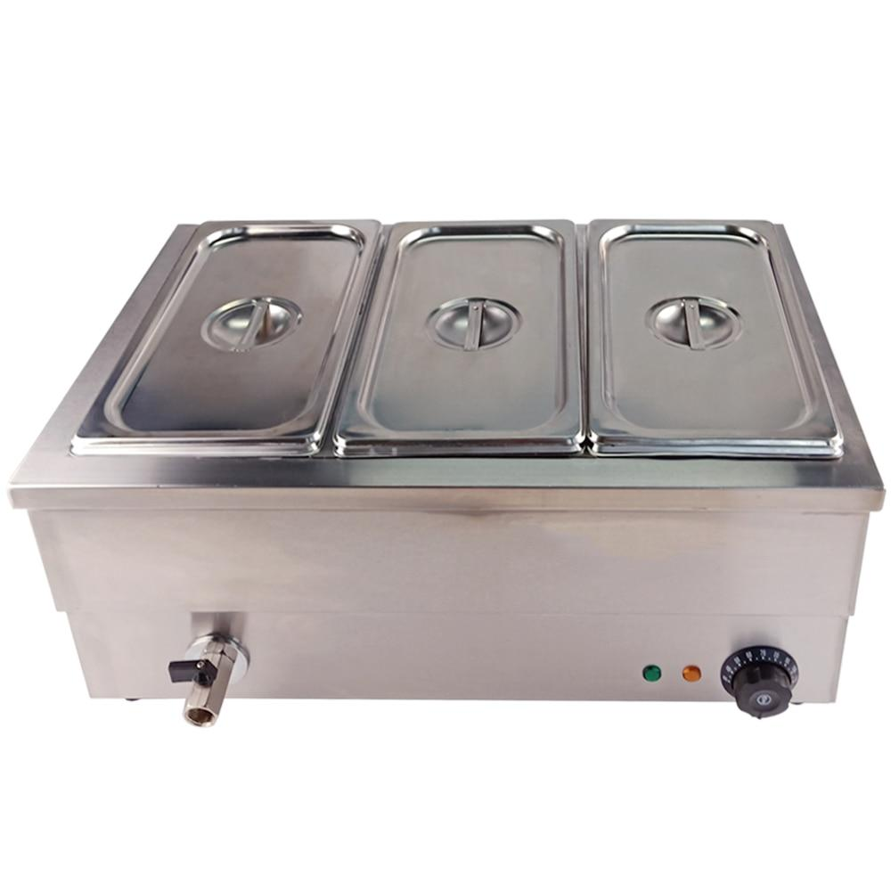 Electric deep soup stove professional kitchen equipment table-top 3 pots for buffet commercial restaurant