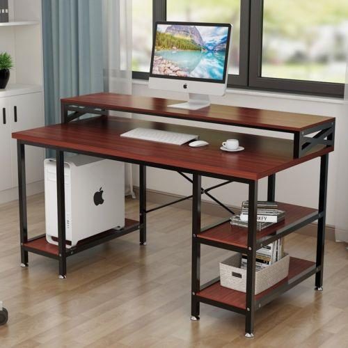 "Desk modern office computer table 55""""workstation with storage & hutch"