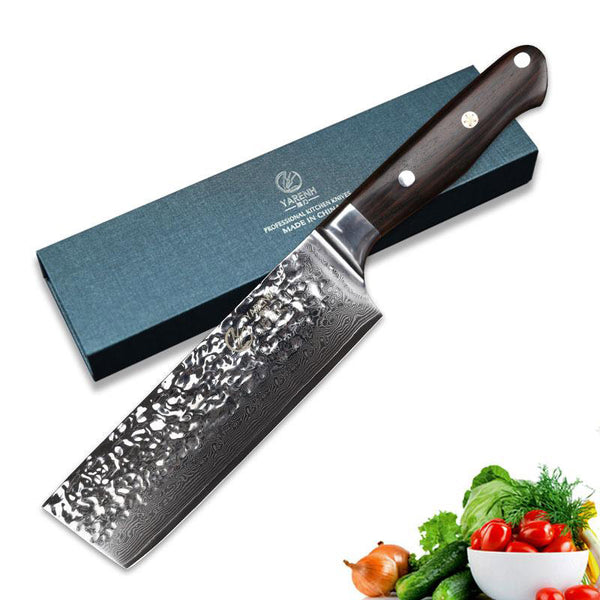 "Chef knife japanese 6.5"""" inch damascus nakiri vegetable high carbon stainless steel kitchen"