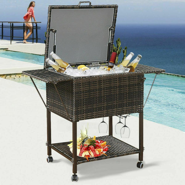 Cooler cart portable rattan trolley outdoor patio pool party ice drink mix