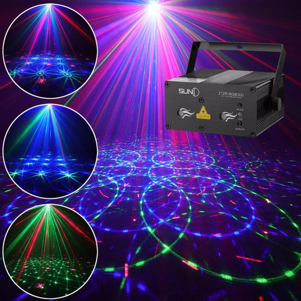 Stage laser light suny sound activated xmas decor mixing rgb effect projector disco dj party lighting home show (z12r-rgb300)