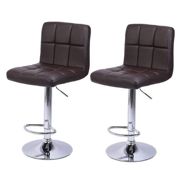 Adjustable bar stools 2pcs leather with back counter height swivel stool 60-80cm 6 checks round cushion