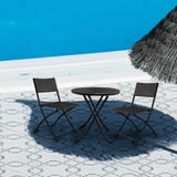 Outdoor furniture 3 pcs/set garden rattan coffee foldable iron 1 table+2 chairs