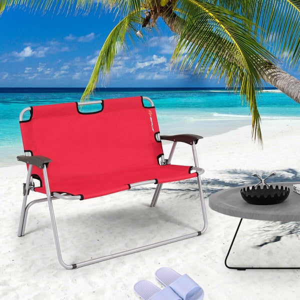 Camping bench 2 person folding portable loveseat double chair outdoor