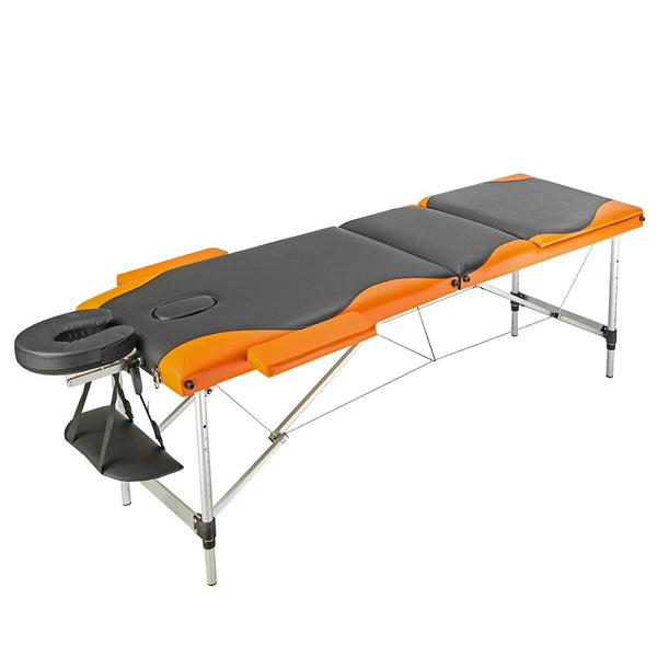 Massage table 3 sections portable foldable aluminum spa bed with carry case beauty salon therapy treatment 60cm wide