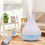 Essential oil diffuser 400ml ultrasonic air humidifier aroma with wood grain 7 color changing led lights for office home