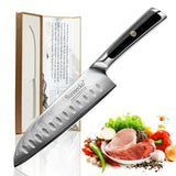 "Santoku knife 7"""" inch japanese vg10 steel blade razor sharp g10 handle damascus kitchen chef's cooking cut"