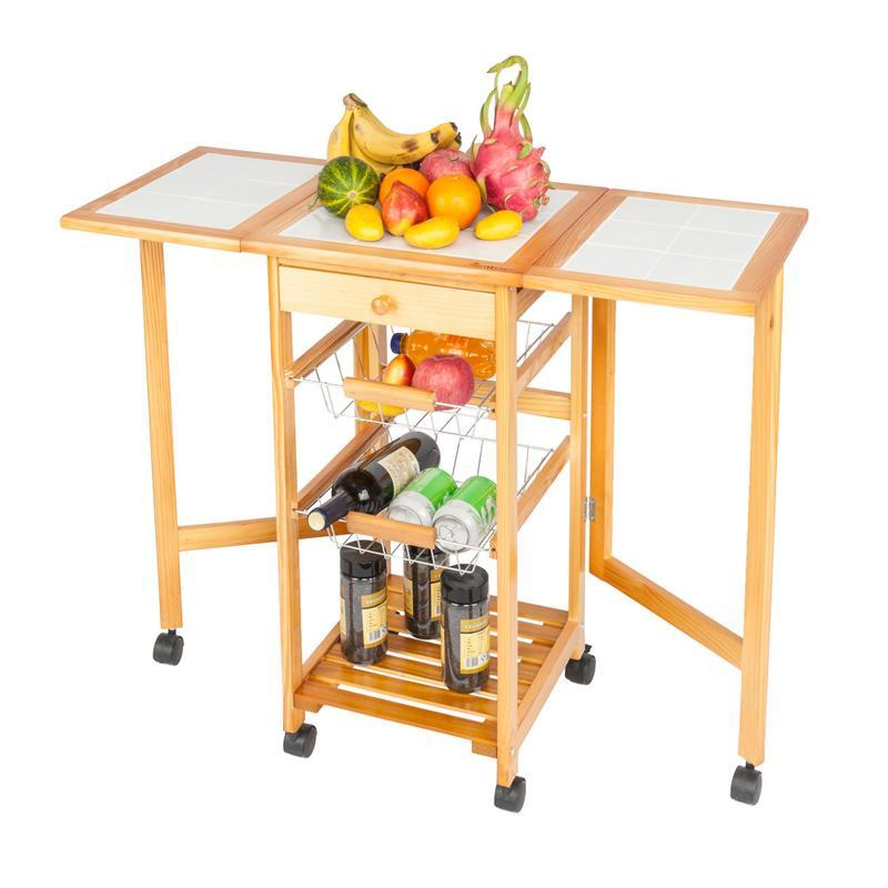 Drop leaf cart portable rolling kitchen storage trolley island sapele color