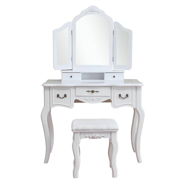 Tri-fold mirrored dresser wooden dressing table makeup with stool sku69216949
