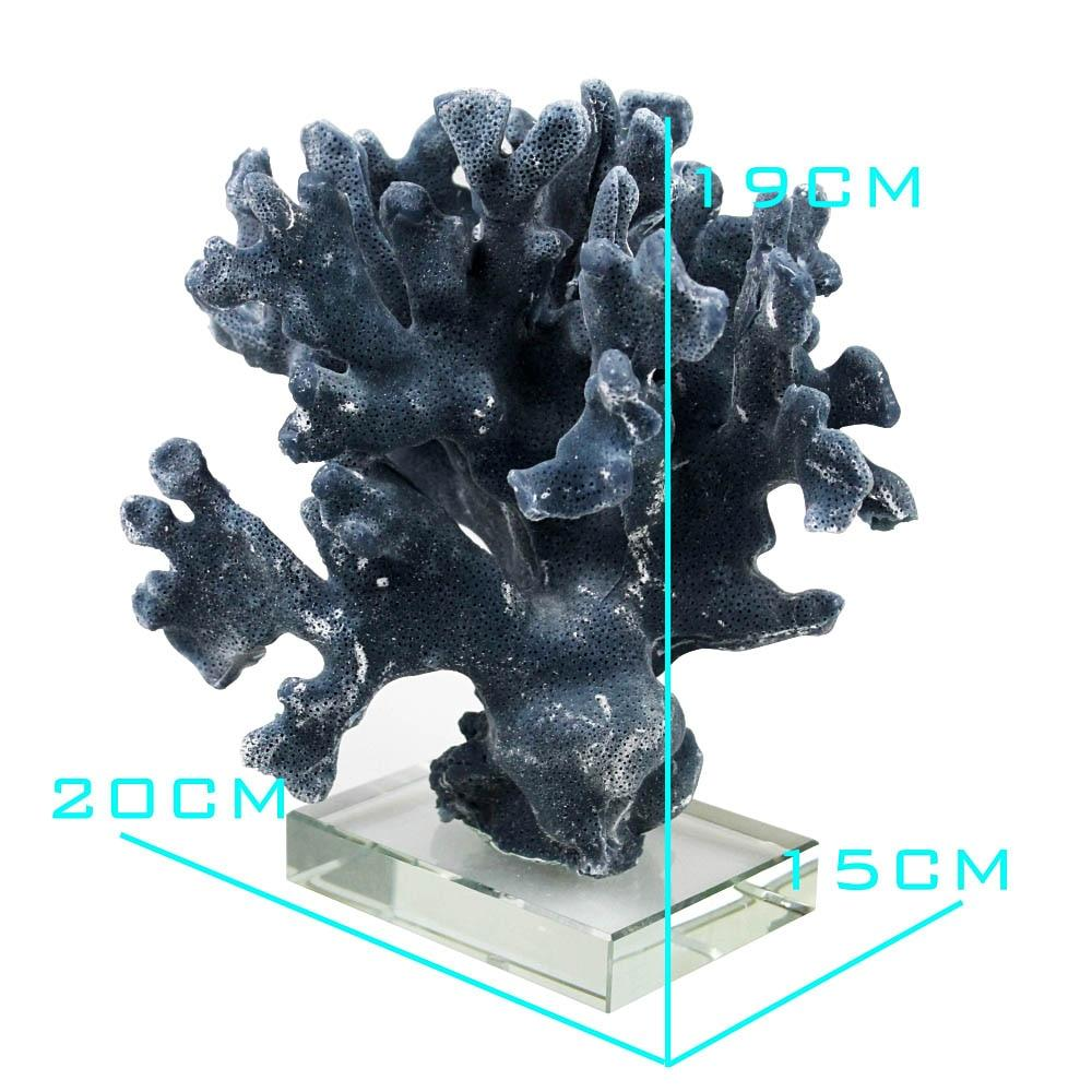 Coral statue resin 7.8 inch on transparent glass base natural design sea figurine ornament home decor stylish decorative accent