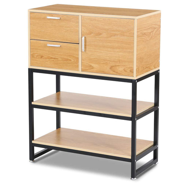 Printer stand large standing file storage cabinet with side door 2 drawers open shelves filing accent for home
