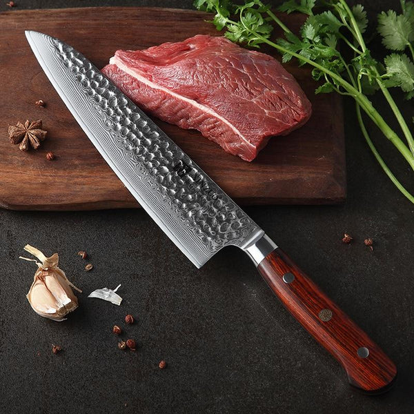 "Chef knife 8.5"""" inch japan damascus stainless steel sharp kitchen newarrive santoku vg10 gyuto rosewood handle"