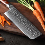 Nakiri knife 7 inch damascus steel stainlesss chinese kitchen cleaver cutting meat with rosewood handle