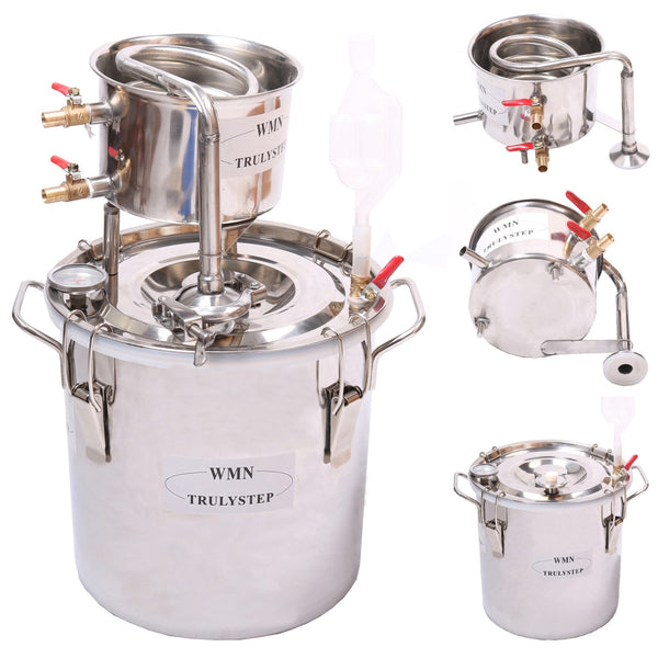 Distiller super 5 gal /20 litres alcohol whisky water moonshine still stainless steel boiler & thumper keg spirits brew kit
