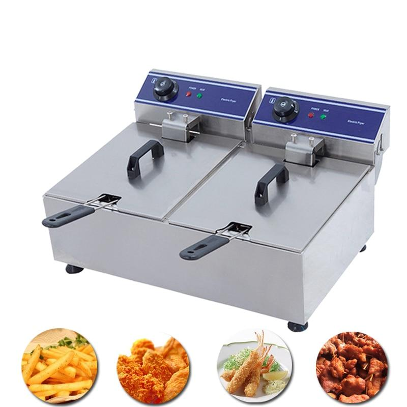 Deep fryer commercial chicken french fries chips basket electric machine potato pan kitchen equipment