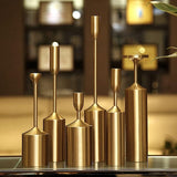 Table decorations 6 pcs simple ornaments metal golden european candlelight dinner props plated iron pillar candle holder st