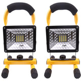 LED floodlight 2 pack with car charger 24 30w portable rechargeable 2400lm security outdoor spotlight waterproof