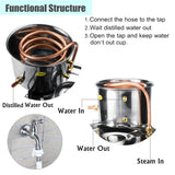 Brewing kit 10L 2 gal home DIY distiller moonshine alcohol stainless copper whisky water wine essential oil