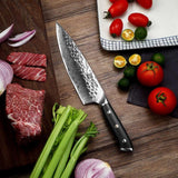 "Chef knife 8"""" hammer damascus steel blade japanese aus-10 core g10 handle kitchen chef's cooking meat sharp cut"