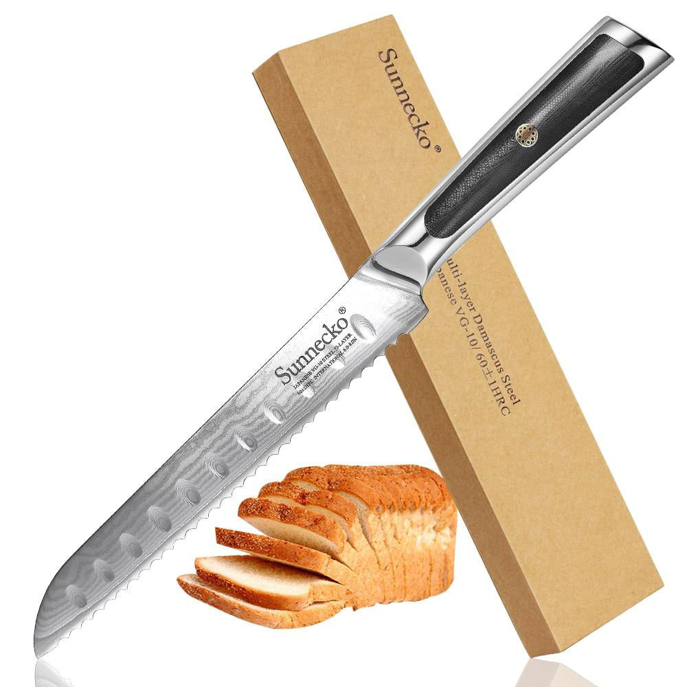 "Bread knife 8"""" damascus steel blade kitchen japanese vg10 core g10 handle slicer for breakfast"