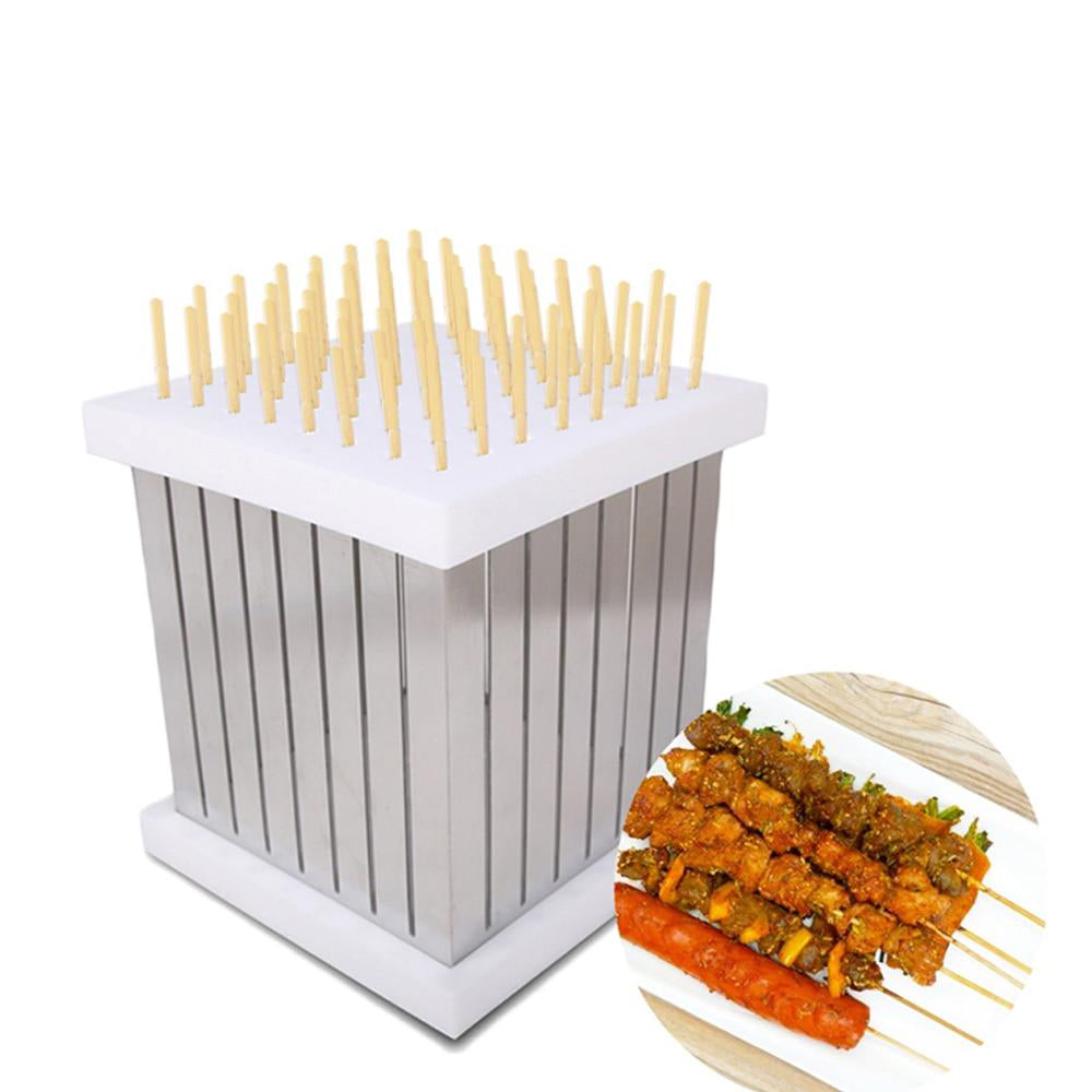 Kebab maker bbq skewers barbecue meat beef 64 holes box tool brochettes easily cleaned stainless steel