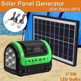 Solar panel charging generator system power kit with mp3 radio outdoor flashlight mobile supply