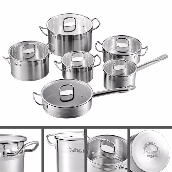 Cookware set velaze 12-piece stainless steel induction safe kitchen pot pan sets saucepan casserole with tempered glass lid
