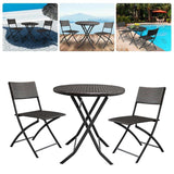 Foldable furniture outdoor 3pcs/set cafe kit rattan garden 1 coffee table + 2 chairs