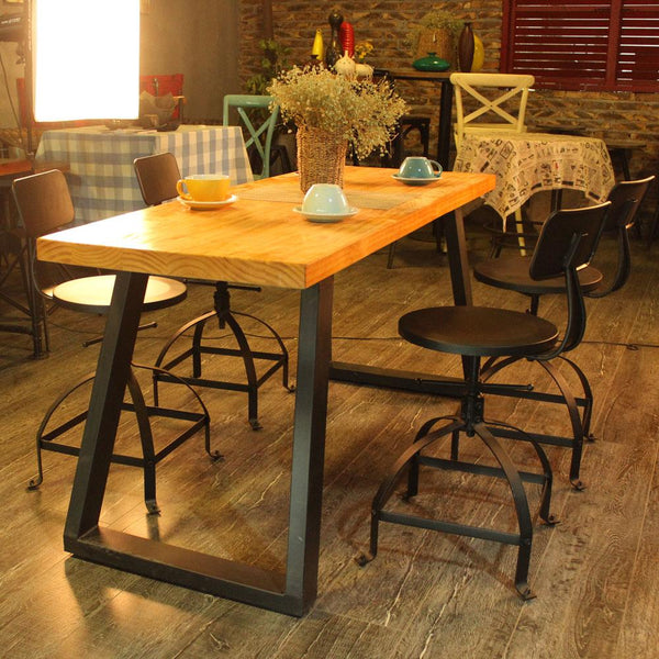 Bar stool industrial style metal ajustable height swivel kitchen dining chair backrest coffee cafe home furniture