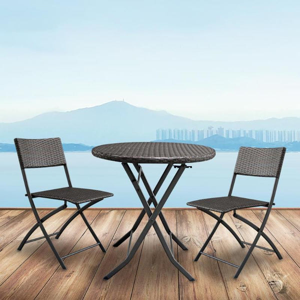 Foldable furniture set 3pcs/set garden rattan coffee table with 2pcs chairs househoud home