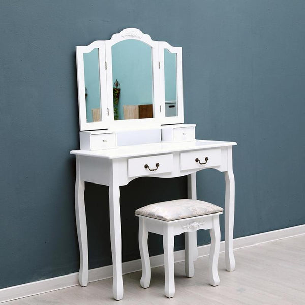 Tri-folding mirror 4 drawers furniture dressing table makeup desk + stool home for bedroom