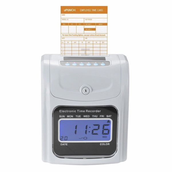 Punch time clock employee attendance payroll recorder lcd display w/ 100 cards
