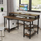"Computer desk with hutch 55"""" large rustic workstation study writing table storage shelves for home office"