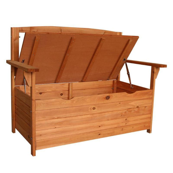 Armchair fir wood courtyard garden chair wooden large capacity storage box
