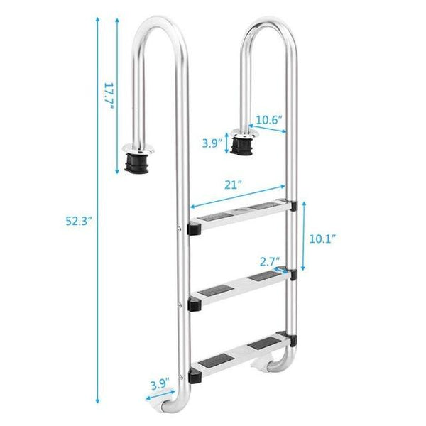 Stainless steel swimming pool ladder in-ground equipment anti skid suit 157cm 4 step/132cm 3 step