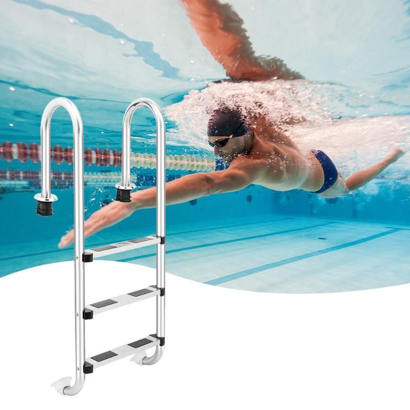 3 Step ladder stainless steel in-ground swimming pool equipment anti skid suit 132cm height